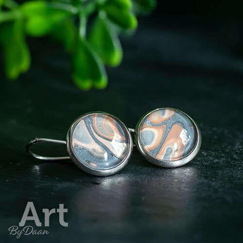 Sieradenset met armband en oorbellen bruin handgemaakte sieraden