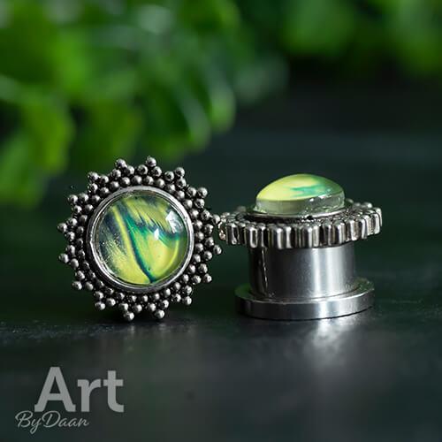 Piercing plugs oor met gele steen - handgemaakte sieraden