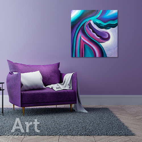 Uniek abstract schilderij geborgenheid paars