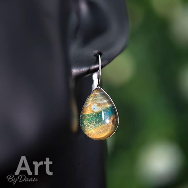 Unieke oorbellen hangers druppel in aardetinten - handgemaakte sieraden