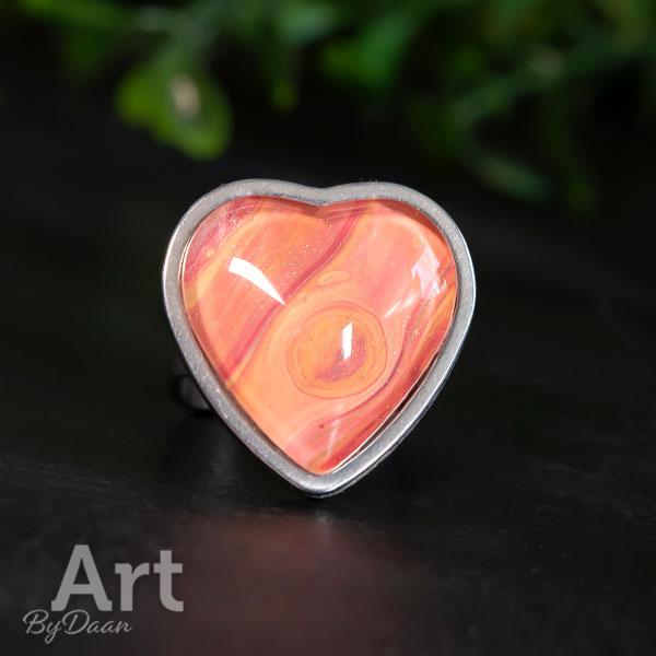 Unieke verstelbare damesring met oranje hart