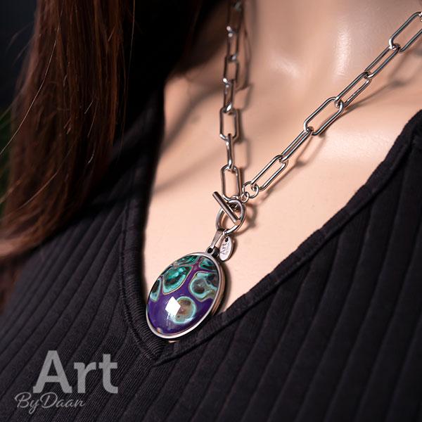 Grove schakelketting met donkerpaarse steen - handgemaakte sieraden
