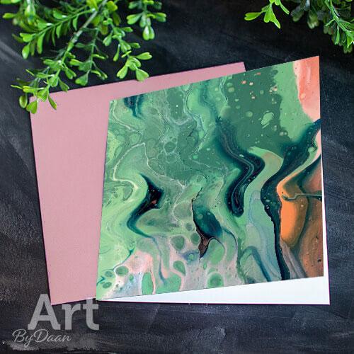 Unieke kunstkaart met afdruk van een groen schilderij