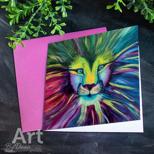unieke kunstkaart met afdruk van een leeuw