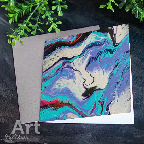 Unieke kunstkaart met afdruk van paars schilderij