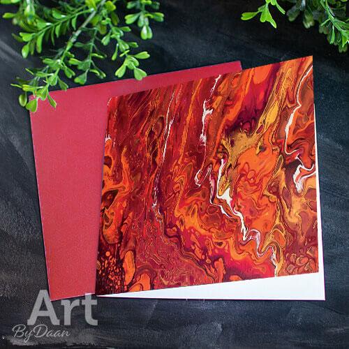 Unieke kunstkaart met afdruk van een rood schilderij
