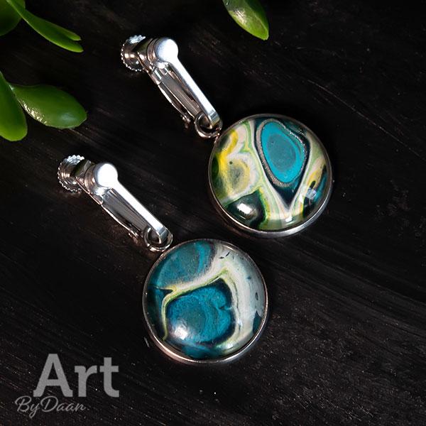 Unieke oorclips met blauwe steen voor oren zonder gaatjes