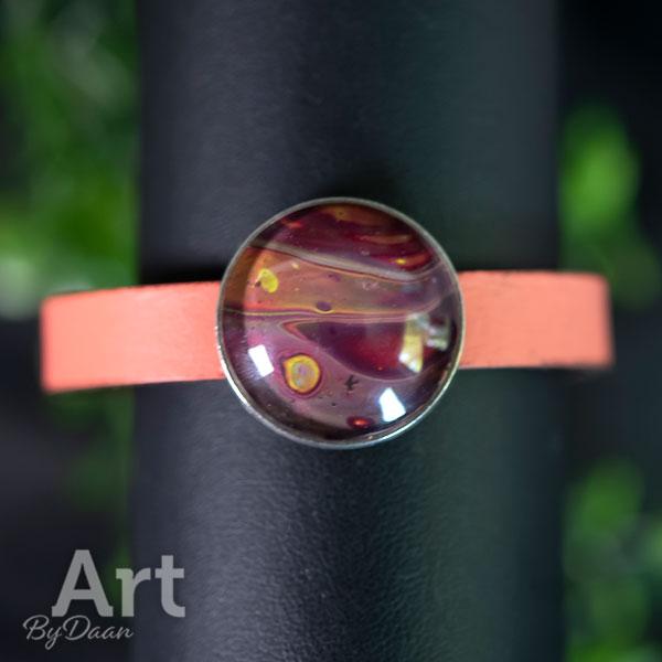 Zalmroze wikkelarmband dames met gekleurde steen