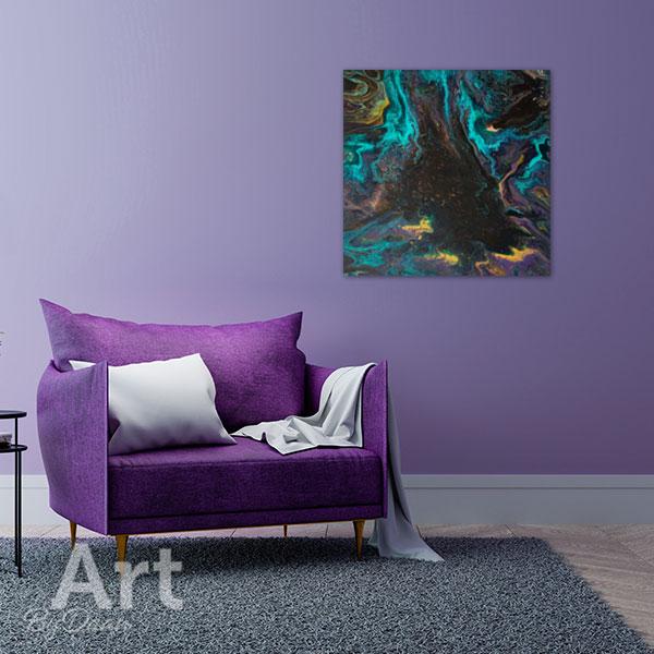 Mooi kleurrijk abstract schilderij met turquoise en bruin