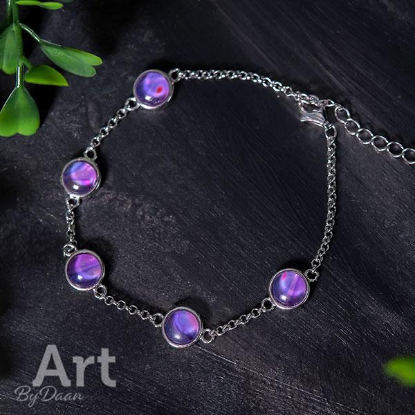 Subtiele echt zilveren armband met paarse stenen