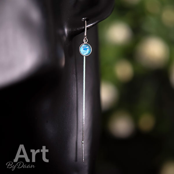 Unieke zilveren oorbellen voor twee gaatjes