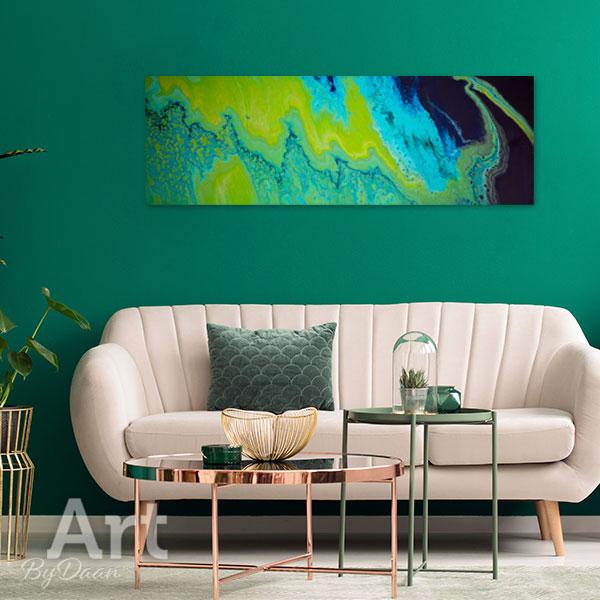 Abstract horizontaal schilderij groen