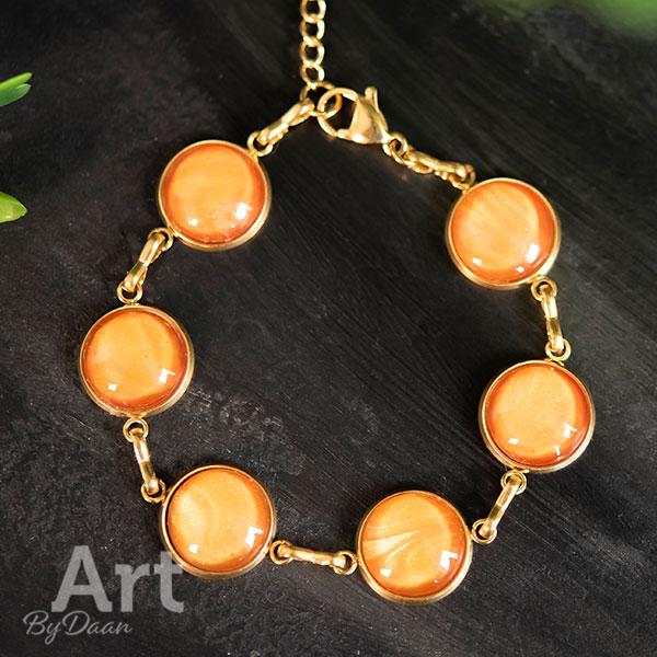 Vergulde RVS armband oranje