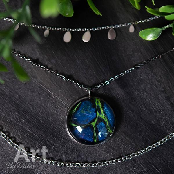 Bijzondere handgemaakte laagjes ketting met blauwe steen - handgemaakte sieraden
