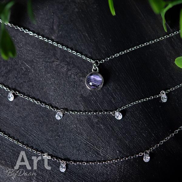 Chique zilveren miltilayer ketting met zirkonia paars - handgemaakte sieraden