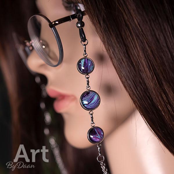 Exclusieve brillenketting met paarse stenen handgemaakt
