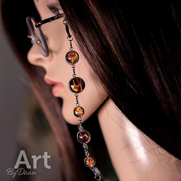 Exclusieve brillenketting met handgemaakte rode stenen