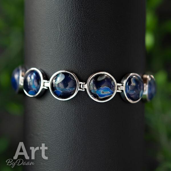 Exclusieve zilveren armband blauw handgemaakt