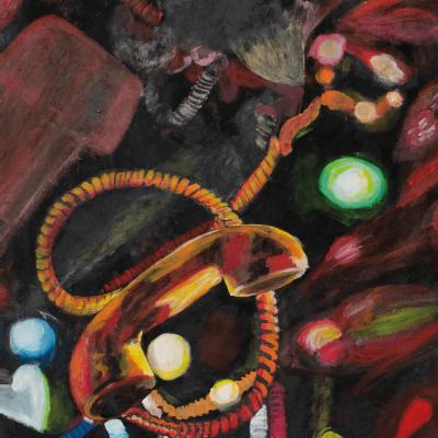 Schilderij van een telefoon