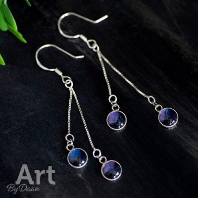 Aparte zilveren oorbellen met paars voor bruiloft