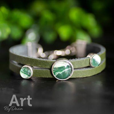 Handgemaakte sieraden - Handgemaakte armband dames leer groen