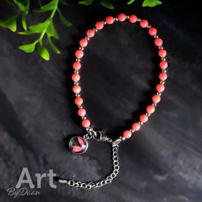Handgemaakte sieraden - aparte - unieke - Bedelarmband met koraal edelstenen