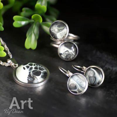 Cadeauset sieradenset met pastelgroen en zwart en zilver