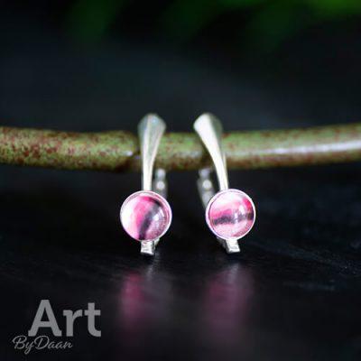 Echt zilveren oorbellen roze
