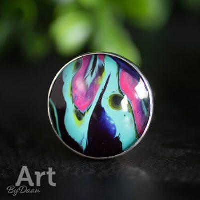 Grote zilveren kleurrijke ring
