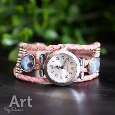 Handgemaakt horloge roze