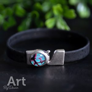 Handgemaakte armband met vegan leather