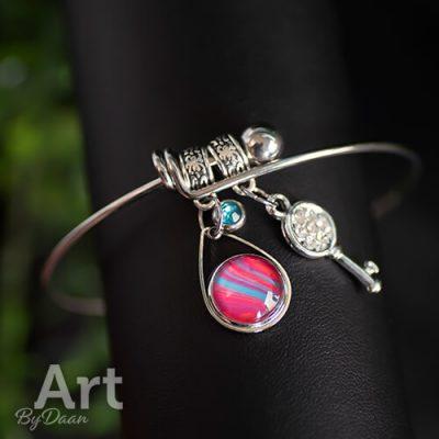 armband met bedels roze handgemaakt