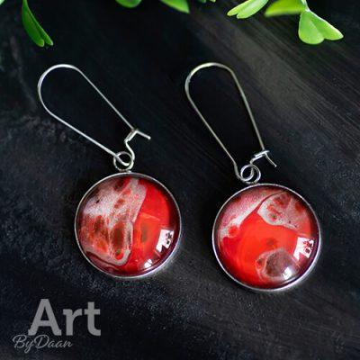 Grote handgemaakte oorbellen hangers rood
