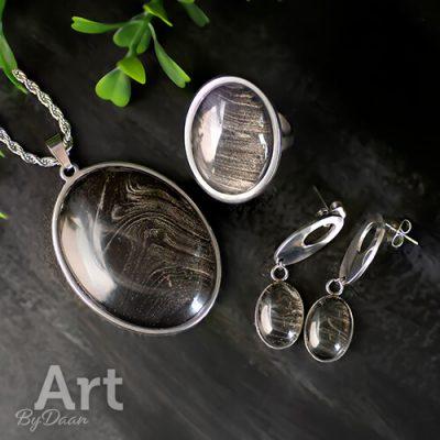 Sieradenset met zwart en zilver