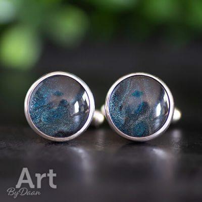 Exclusieve zilveren manchetknopen met blauw