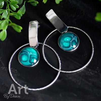 handgemaakte sieraden - aparte ring oorbellen met hanger groen