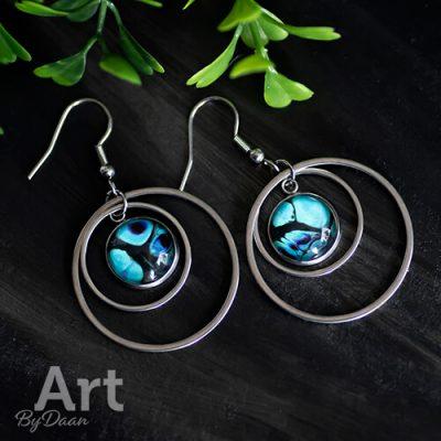 Oorhangers met ringen en blauwe steen