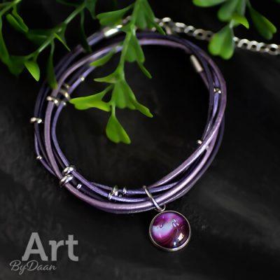 Unieke paarse leren armband verstelbaar