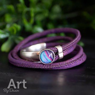 Vegan sieraden paarse wikkelarmband