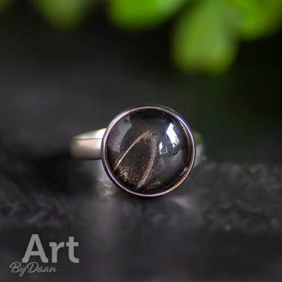 Verstelbare damesring van rvs met zwarte steen