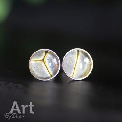 Zilveren oorknopjes met grijs en geel