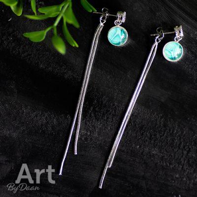 Sterling zilveren oorknopjes met kettinkjes